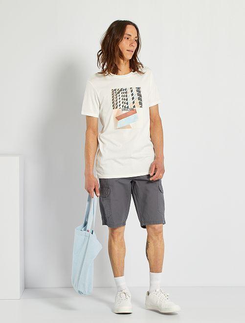 T-shirt imprimé éco-conçu                                                                                                                                                                 écru/structure