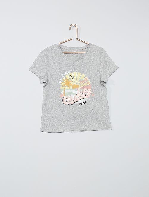 T-shirt imprimé éco-conçu                                 gris chiné