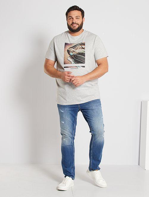 T-shirt imprimé éco-conçu                                                                                                     gris chiné/car