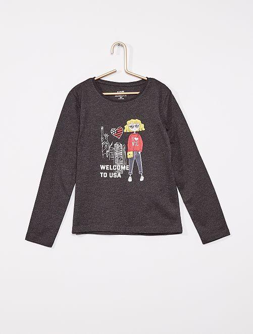 T-shirt imprimé éco-conçu                                                                                                                                                                                                                 gris fille