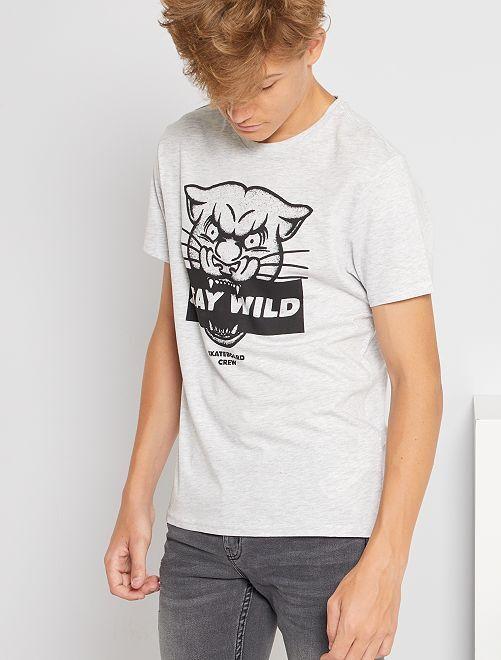 T-shirt imprimé éco-conçu                                                                                                                                                                                                                                                                             gris panthere