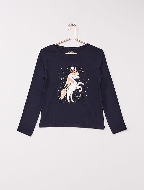 T-shirt imprimé 'éco-conçu'                                                                                                                                                     marine licorne