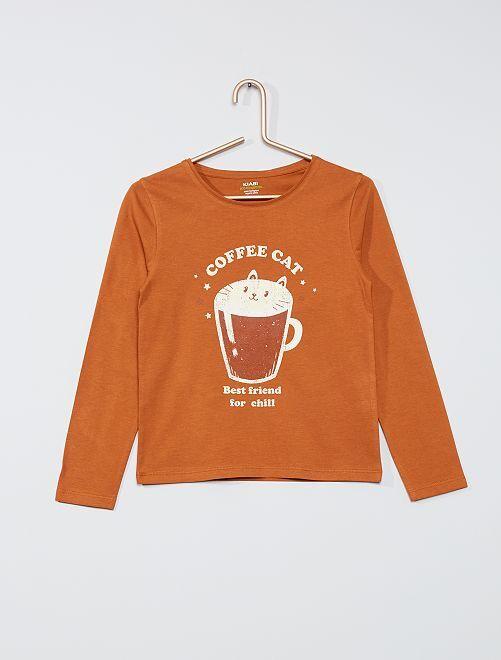 T-shirt imprimé éco-conçu                                                                             marron