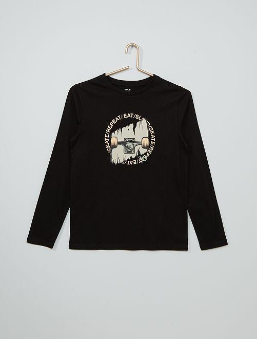 T-shirt imprimé éco-conçu                                                                                                                                                                                                                             noir skate