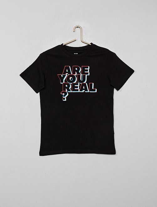 T-shirt imprimé éco-conçu                                                                                                         noir/typo