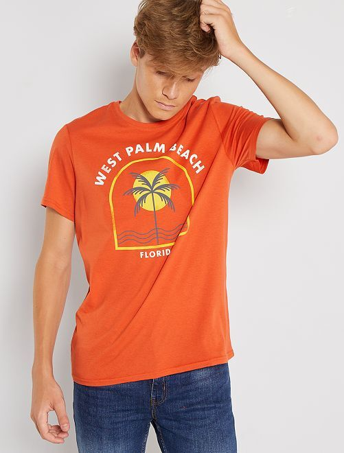 T-shirt imprimé éco-conçu                                                                                                     orange palmier