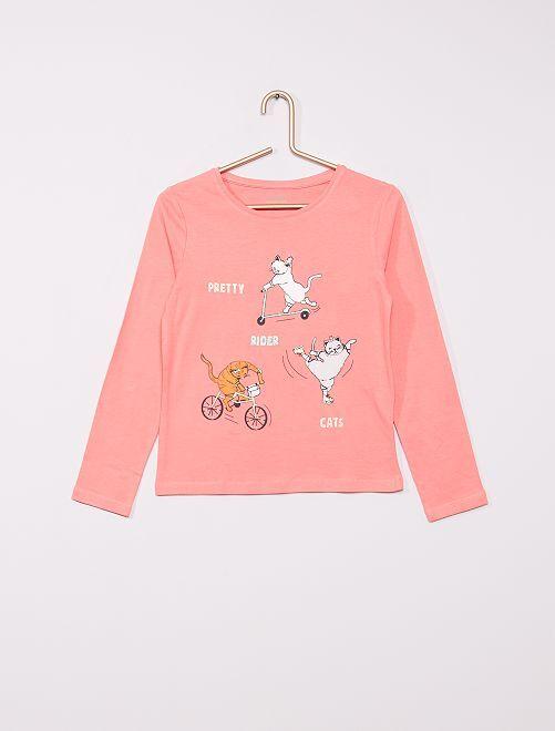 T-shirt imprimé éco-conçu                                                                                                                                                                                                                 rose chats
