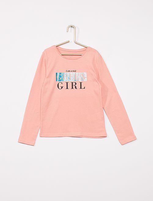T-shirt imprimé éco-conçu                                                                                                                                                                                                                 rose écolo
