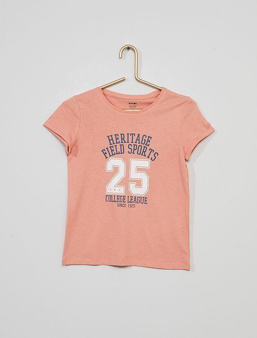 T-shirt imprimé 'arc-en-ciel' éco-conçu                                 rose