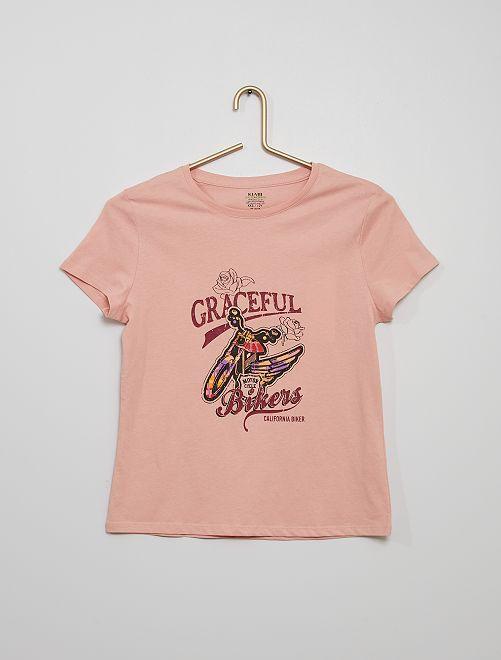 T-shirt imprimé éco-conçu                                                                                                                                                                                                                                                     ROSE