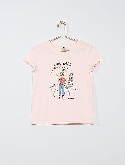 T-shirt imprimé 'licorne' éco-conçu                                 rose