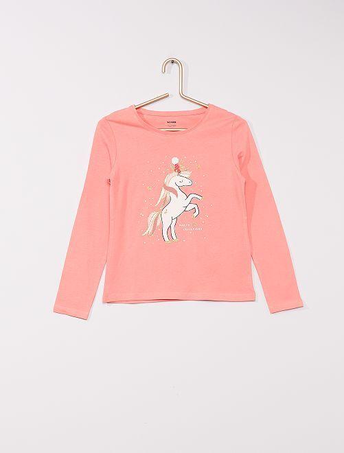 T-shirt imprimé 'éco-conçu'                                                                                                                                                     rose licorne