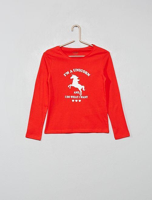 T-shirt imprimé éco-conçu                                                                             rouge licorne