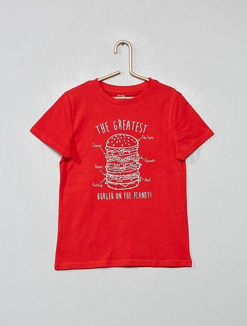 T-shirt imprimé éco-conçu                                                                                                                                         rouge/burger