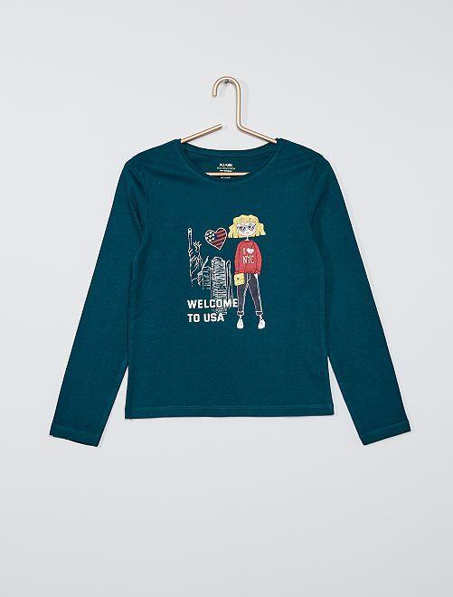 T-shirt imprimé éco-conçu                                                                                                                                                                                                                 vert foncé fille