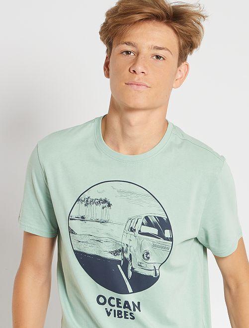 T-shirt imprimé éco-conçu                                                                                                                                                                                                                                                                                         vert ocean
