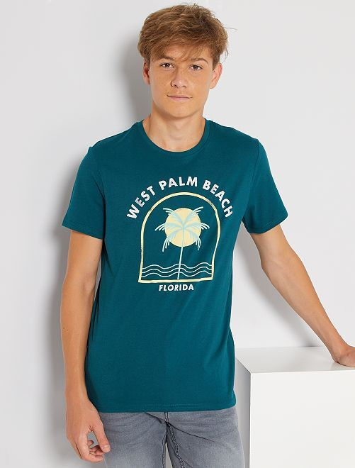 T-shirt imprimé éco-conçu                                                                                                                                                                                                                                                                             vert palmier