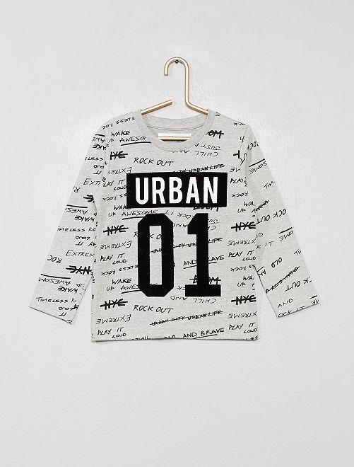 T-shirt imprimé 'écritures' et patch velours                             gris chiné