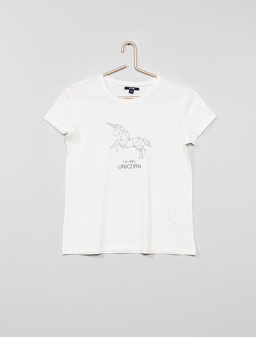 T-shirt imprimé                                                                             écru Fille adolescente