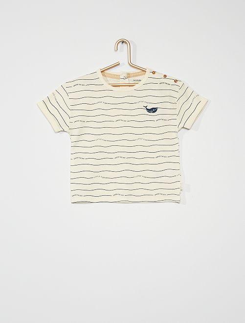 T-shirt imprimé                                                                             écru rayé