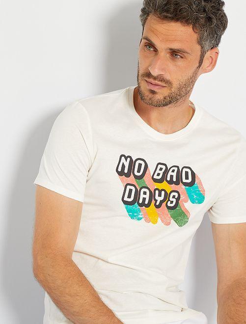 T-shirt imprimé                                                                                         écru/no bad days