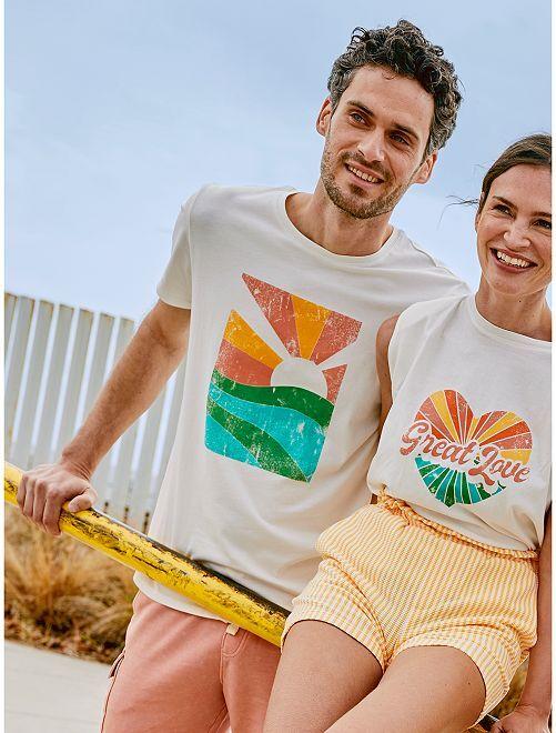 T-shirt imprimé                                                                                         écru/soleil