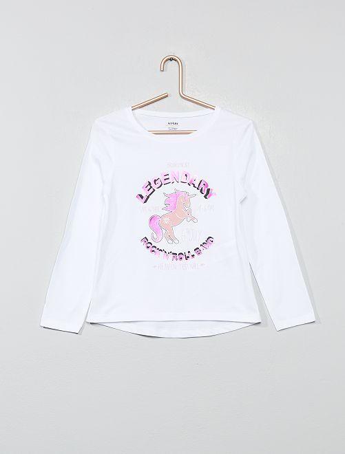 T-shirt imprimé en coton bio                                                                                                                                                     blanc licorne Fille
