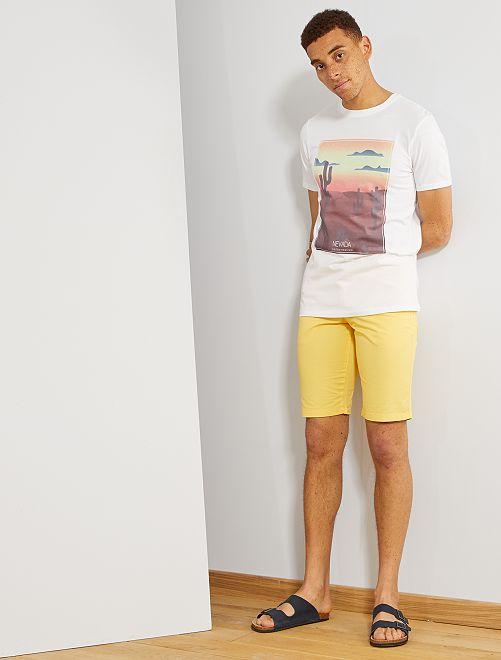 T-shirt imprimé en coton bio                                                                                                                                                                 blanc nevada Homme