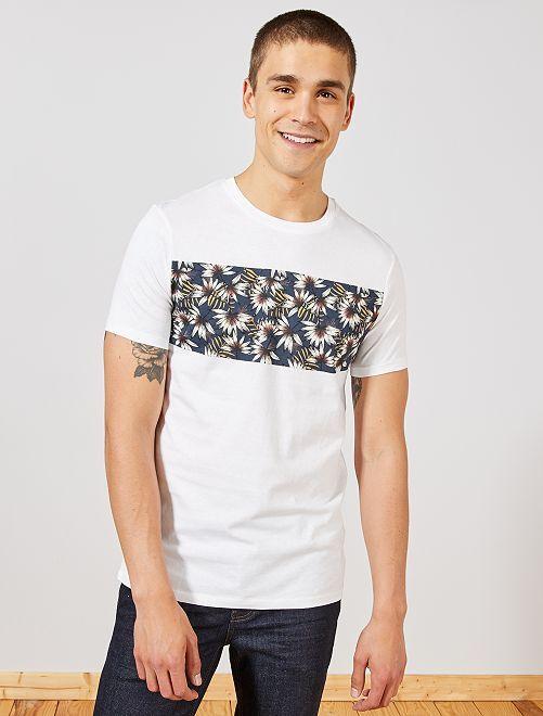 T-shirt imprimé en coton bio                                                                                                                                                     blanc palmiers Homme
