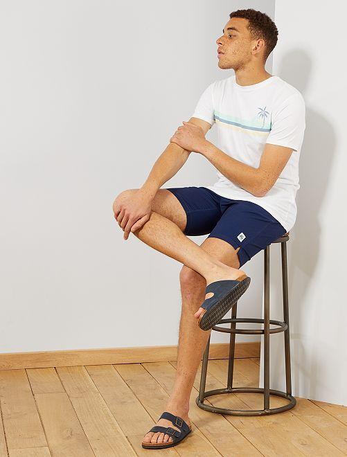 T-shirt imprimé en coton bio                                                                                                                                                                 blanc wave Homme