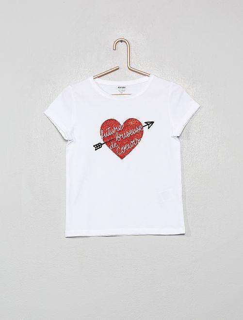 T-shirt imprimé en coton bio                                                                                                                                         blanc/cœur