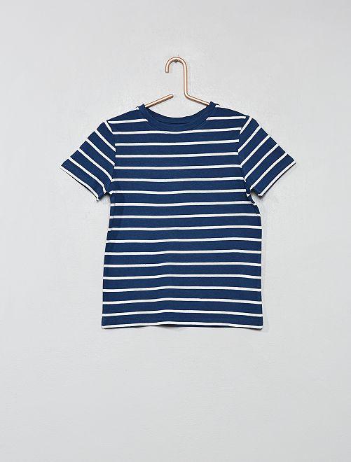 T-shirt imprimé en coton bio                                                                                                     bleu rayé Garçon