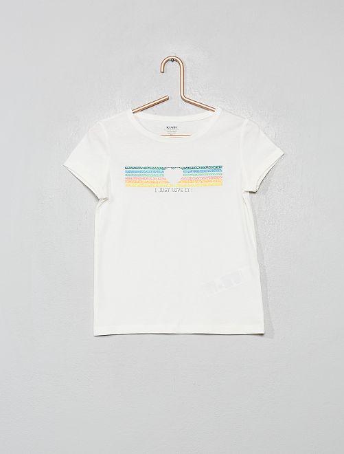 T-shirt imprimé en coton bio                                                                                                                                                     écru