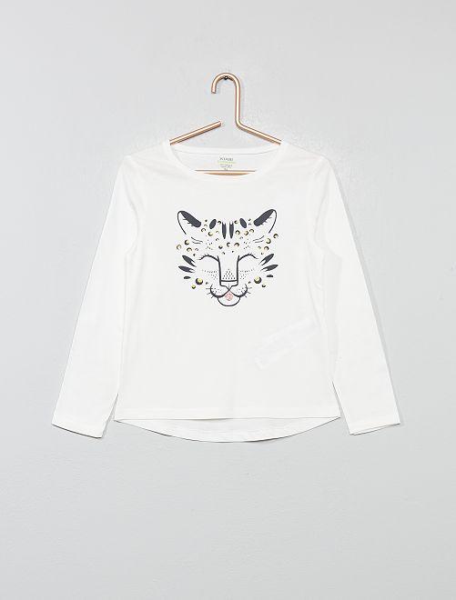 T-shirt imprimé en coton bio                                                                                                                                                     écru panthère Fille
