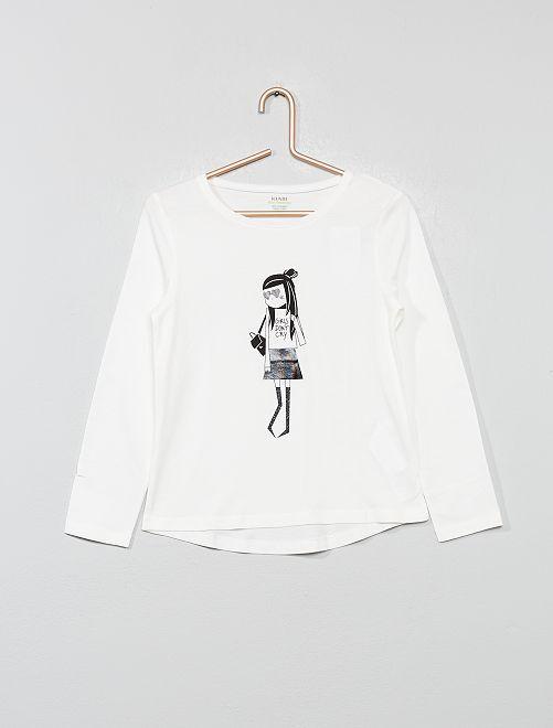 T-shirt imprimé en coton bio                                                                                                                                                     écru rock Fille