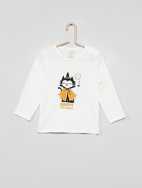 T-shirt imprimé en coton bio                                                                                                                                                                                                                                         écru/chat Bébé fille
