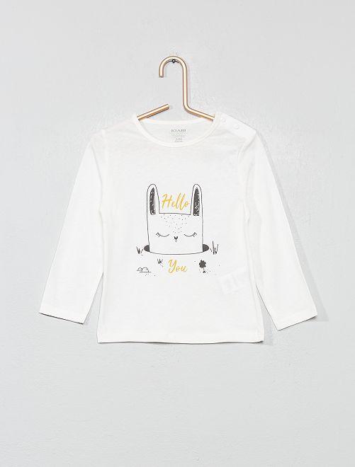 T-shirt imprimé en coton bio                                                                                                                                                                                                                                         écru/lapin Bébé fille
