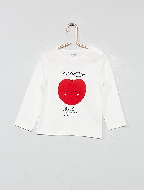 T-shirt imprimé en coton bio                                                                                                                                                                                                                                         écru/pomme Bébé fille