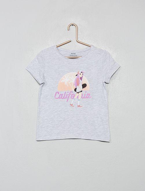 T-shirt imprimé en coton bio                                                                                                                 gris/skate