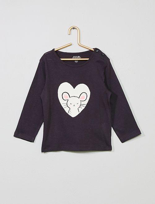 T-shirt imprimé en coton bio                                                                                                                                                                                                                                         gris/souris Bébé fille