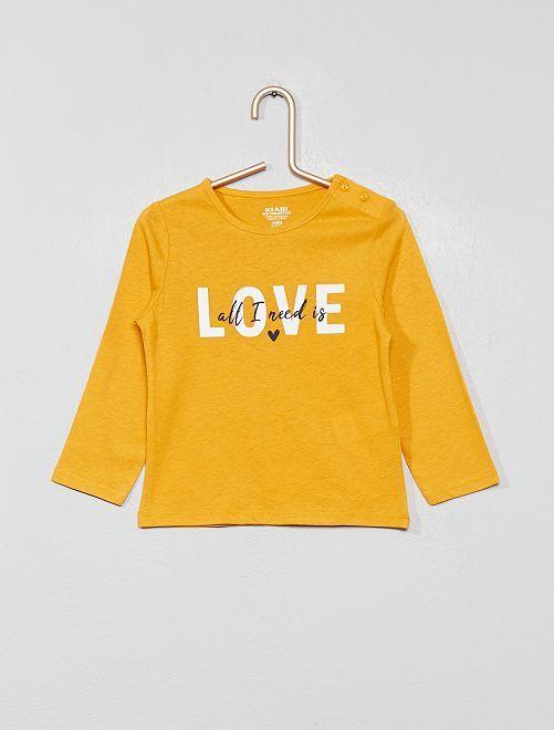 T-shirt imprimé en coton bio                                                                                                                                                                                                                                         jaune Bébé fille