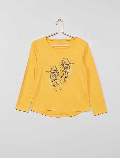 T-shirt imprimé en coton bio                                                                                                                                                     jaune panthère Fille
