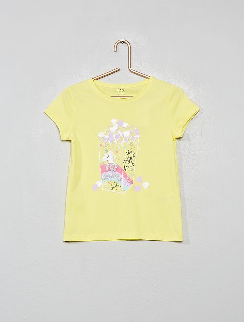 T-shirt imprimé en coton bio                                                                                                                                         jaune/popcorn