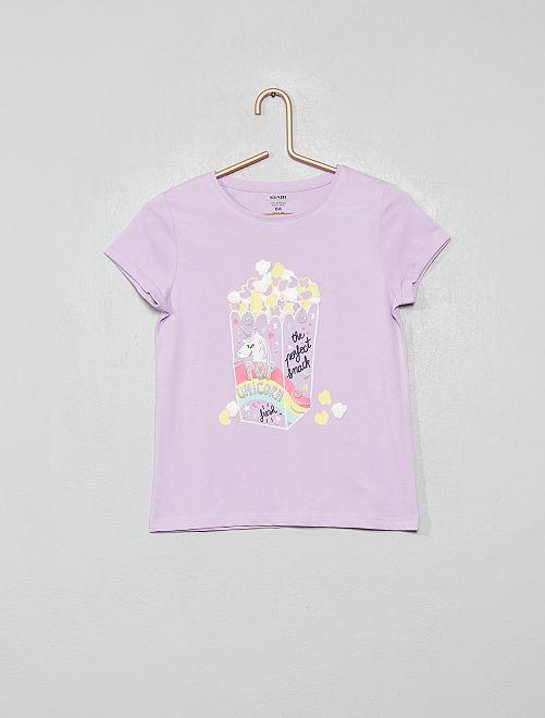 T-shirt imprimé en coton bio                                                                                                                                                     mauve/popcorn
