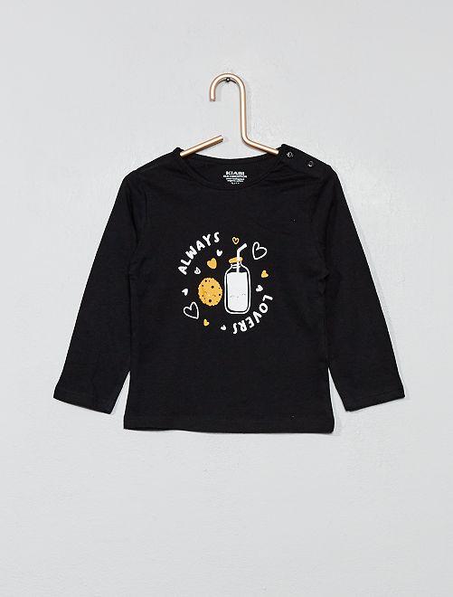 T-shirt imprimé en coton bio                                                                                                                                                                                                                                         noir Bébé fille