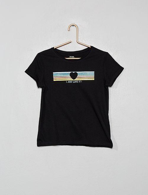 T-shirt imprimé en coton bio                                                                                                         noir