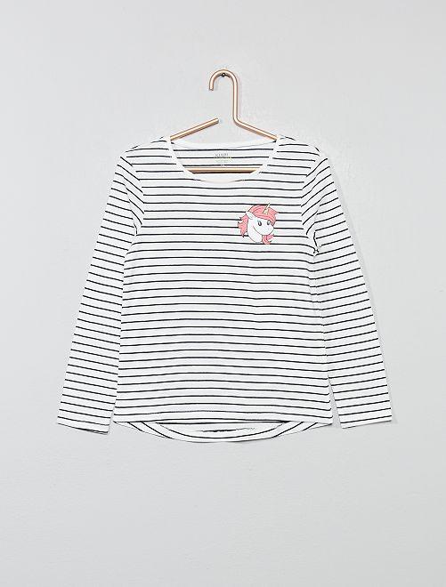 T-shirt imprimé en coton bio                                                                                                                                                     rayé licorne Fille