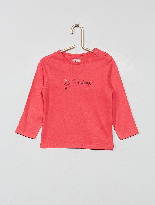 T-shirt imprimé en coton bio                                                                                                                                                                                                                                         rose Bébé fille