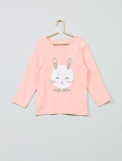 T-shirt imprimé en coton bio                                                                                                                                                                                                                                         rose/lapin Bébé fille