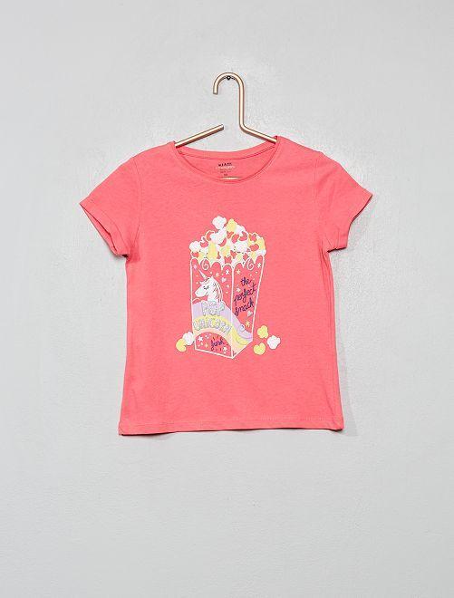 T-shirt imprimé en coton bio                                                                                                                                                     rose/popcorn